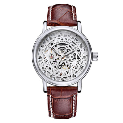 dappertime men's brown leather silver case skeleton automatic watch