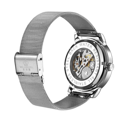 dappertime silver mesh automatic movement skeleton mens watch