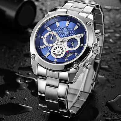 Affordable luxury silver stainless steel blue face quartz watch