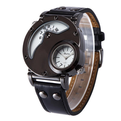DapperTime military big face black leather band quartz watch