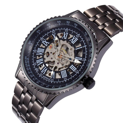 DapperTime stainless steel automatic black skeleton watch