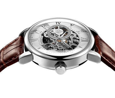 dappertime brown leather dapper silver automatic skeleton watch