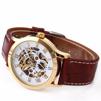 Affordable automatic self-winding mechanical brown leather gold watch