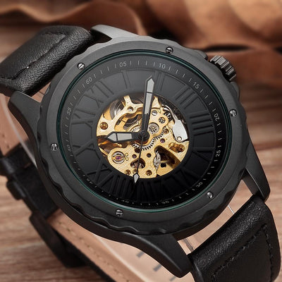 dappertime black leather simple skeleton watch