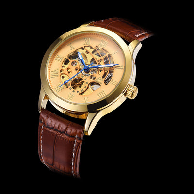 DapperTime automatic brown leather gold face blue hands skeleton watch