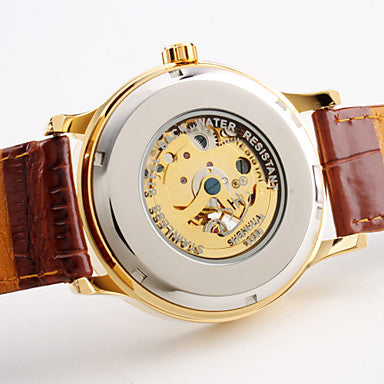 DapperTime automatic brown leather gold face blue hands skeleton watch back