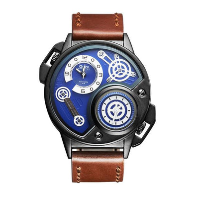 DapperTime military big face brown leather band quartz watch