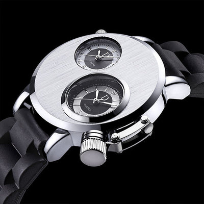 DapperTime black rubber band stainless steel case dual time quartz watch