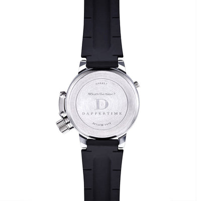 DapperTime black rubber band stainless steel case dual time quartz watch back