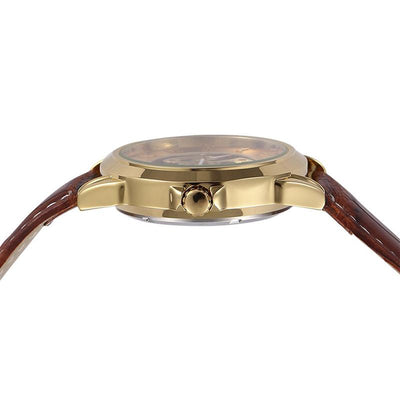 DapperTime automatic brown leather gold skeleton watch