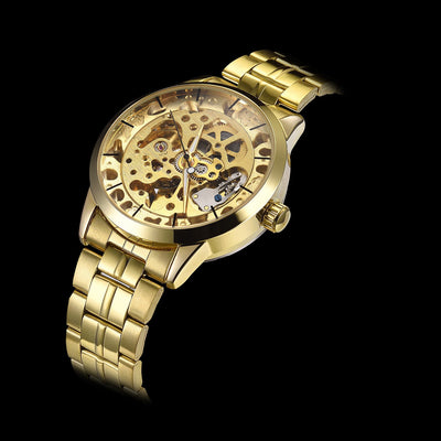 DapperTime automatic gold stainless steel skeleton watch