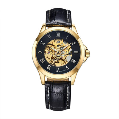 DapperTime automatic black leather gold case skeleton watch