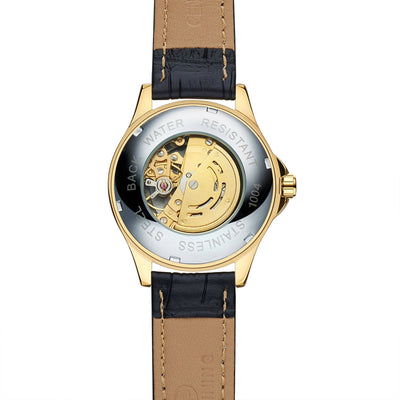 DapperTime automatic black leather gold case skeleton watch back