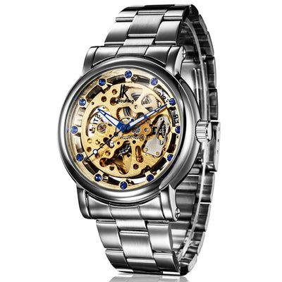 dappertime silver stainless steel blue hands skeleton watch
