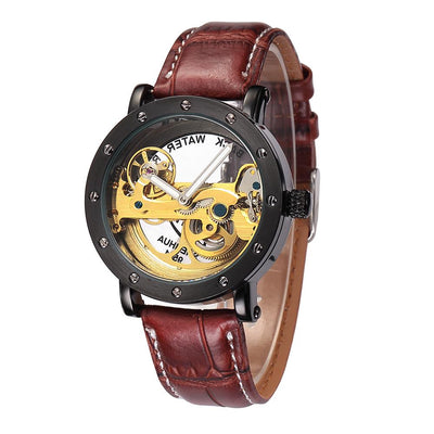 dappertime brown leather skeleton watch