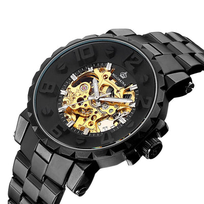 dappertime black gold automatic big face stainless steel skeleton watch