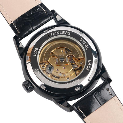 DapperTime luxury automatic black leather band watch