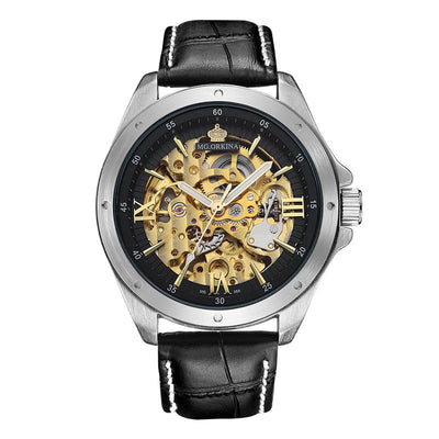 dappertime black leather silver case automatic skeleton watch