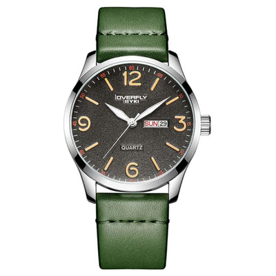 dappertime olive green leather silver case quartz watch
