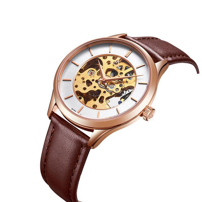 dappertime brown genuine leather rose gold case automatic skeleton watch