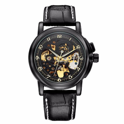 Affordable mechanical self-winding black leather band case gold skeleton watch