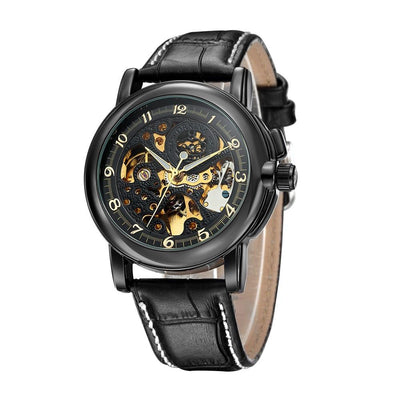 DapperTime automatic black leather band case gold skeleton watch