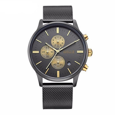 DapperTime luxury black mesh band gold quartz watch