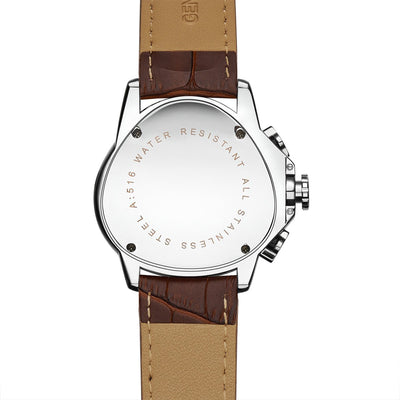 DapperTime aviator unique mechanical brown leather watch