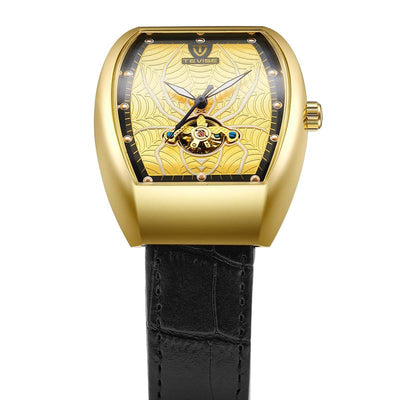 dappertime black leather gold case automatic tourbillon spider watch
