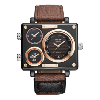 DapperTime military big face brown strap quartz watch