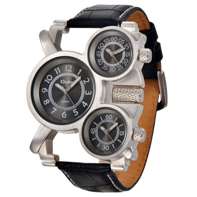 DapperTime Men's Triple Time Zone Quartz Leather Military Watch