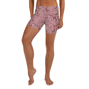 Peach Snakeskin Shorts