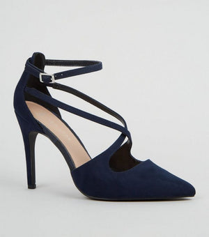 Wide Fit Navy Suedette Cross Strap Courts
