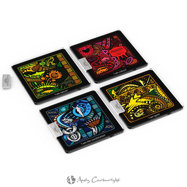 Andy Cartwright 'I Am South African' Glass  Coasters Corporate gifts
