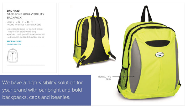 Safe-Zone High-Vis Backpack - Yellow Only Corporate gifts