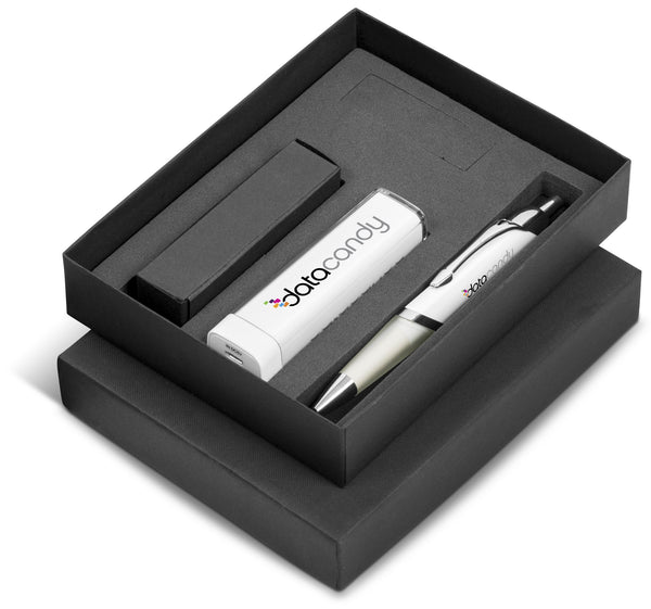 Omega Nine Gift Set 2200mAh - Solid White Only Corporate gifts