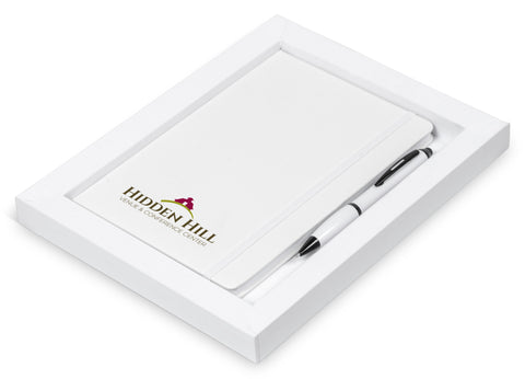 Omega Notebook Gift Set - Solid White Only Corporate gifts