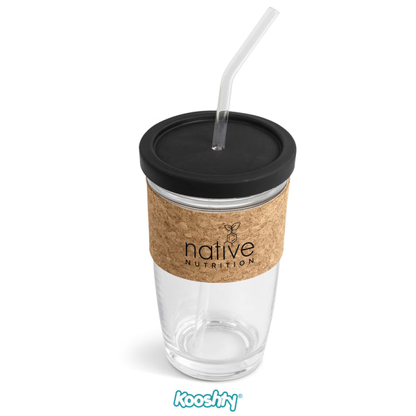 Kooshty Kork Glass Smoothie Kup & Straw - Black Only Corporate gifts