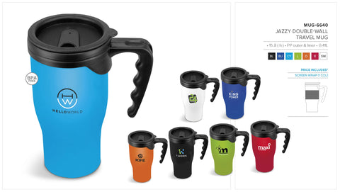 Jazzy Double-Wall Travel Mug - 410ml Corporate gifts