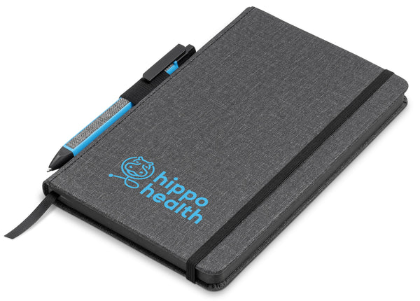 Vulcan A5 Fabric Notebook Set - Cyan Only Corporate gifts