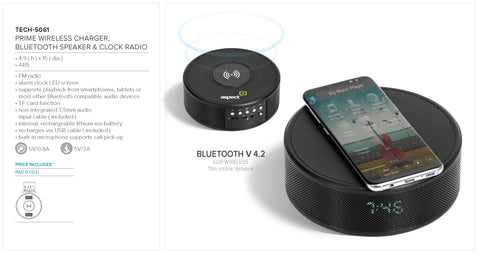 Prime Wireless Charger, Bluetooth Speaker & Clock Radio Corporate gifts