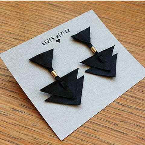Jewellery - Geometric Triangle Earrings - Black And Gold