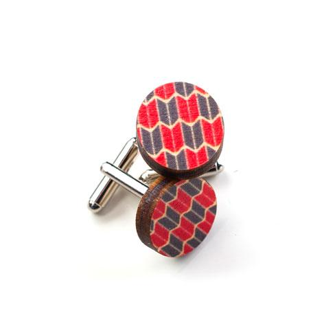 Jewellery - Wooden Origami Cufflinks - Red & Blue