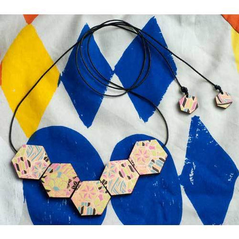Jewellery - Wooden Patchwork Bead Necklace - Macaroon