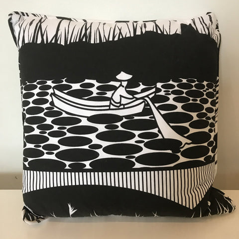 Living - Organic Cotton Cushion - Man On The Lake Nouveau Black