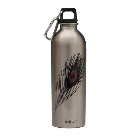 Living - Stainless Steel Drink Bottle 1Litre - Peacock Feather