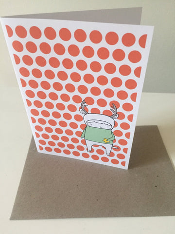 Stationery - Deer Card - Orange Dots