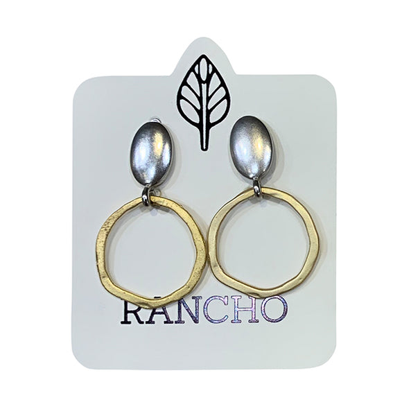 Solid Oval Stud with Flat Ring Earring
