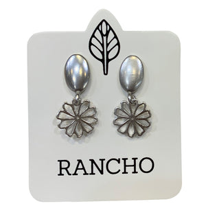 Solid Oval Stud with Daisy Charm Earring
