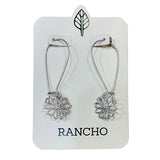 Long wire hook silver or gold earrings with daisy charm